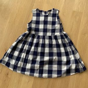 Blue and white gingham babydoll dress